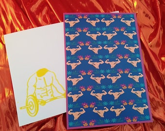 Beach Muscle A5 card with screen printed envelope