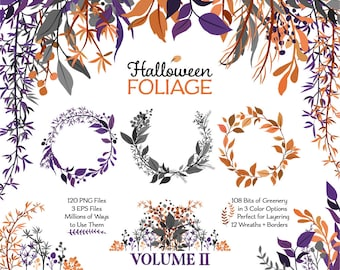 Halloween Clipart | Leaf Clipart | Vector Foliage | Halloween Wreath, Branch, and Botanical Graphics | Halloween Graphics