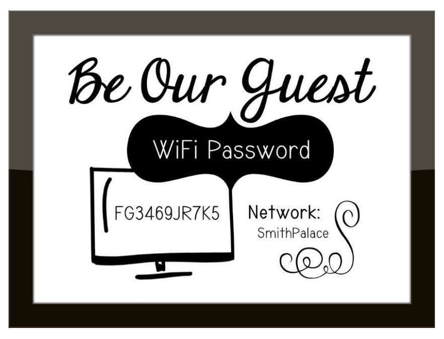 Funny Wi Fi Network Password Sign Guest Room Office