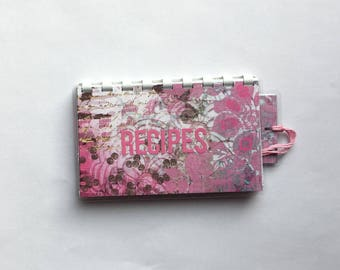 Handmade Pink Rose 'Recipes' Blank Recipe book for Your Personal Recipes