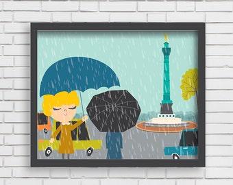 Home Wall Decor- Rainy Day in Paris- Art Print- 8x10, 11x14
