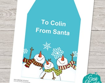 Extra large Christmas gift tag | Personalize and print snowman gift tag