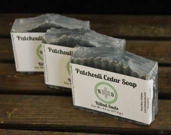 Patchouli Cedar Bar Soap - Activated Charcoal Soap - Patchouli Soap - Cedar Soap - Masculine Soap - Soap for Men - Charcoal Soap -Vegan Soap