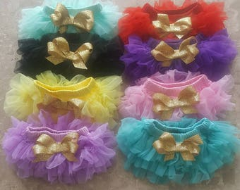 Ready to SHIP You choose color chiffon tutu Bloomers w gold glitter bow newborn, infant, toddler, 2 sizes,  newborn photo prop, cake smash