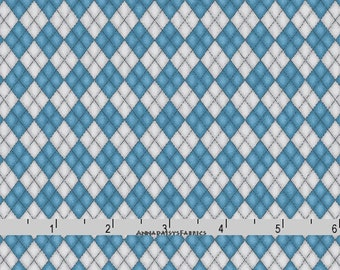 Gray & Blue Argyle Fabric, Maywood Studio Forest Friends 8190 BK, by Kris Lammers, Blue and Gray Argyle Quilt Fabric, Plaid Cotton Yardage