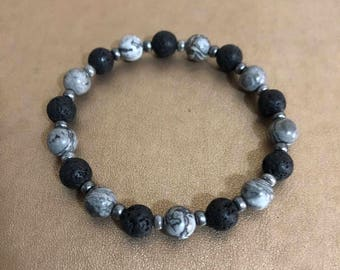 MEN'S Gemstone and lave beads stretchy bracelet