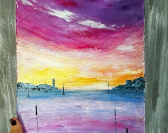 Abstract painting, modern art, abstract sunset Art