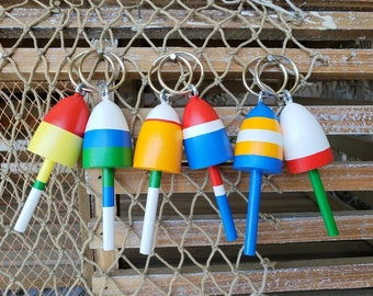 Key Chains, Maine Lobster Buoys, Wedding Favors, Maine Buoy mixed colors, set of six (6)