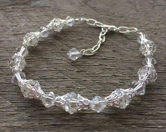 Art Deco Crystal Bracelet, Filigree Bracelet, Art Deco Jewelry, Elegant Wedding Bracelet on Silver or Gold Chain