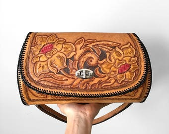 25% OFF wCODE - 25ALIVE - Vintage, 1970's, Floral, Tooled-Leather, Tool-Roll Style, Handbag, Purse