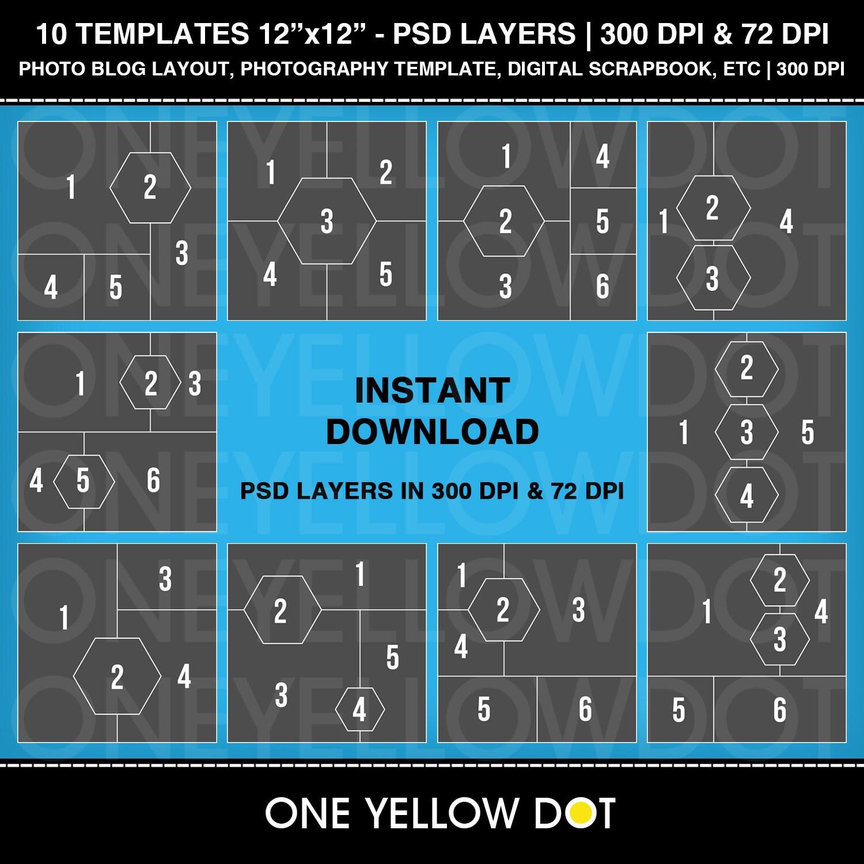 12 x 12 Platz und Hexagon-Foto-Layout-Vorlagen PSD Ebenen