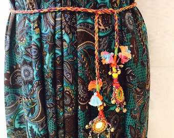 Boho ethnic fine belt with Mirror Bell.  Bohemian and boho style necklace