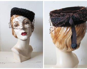 Vintage 1940s Brown Velvet Tilt Hat / 40s Veiled Pill Box / Espresso Shot Hat