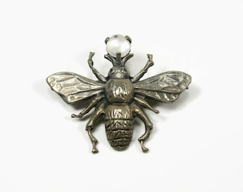 Vintage Sterling Silver Moonstone Bee Pin, Insect Brooch, Estate Jewelry, Figural Pin, 1940s Jewelry, Bee Brooch