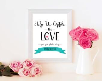 Instagram, Facebook, Twitter Wedding Sign - Hashtag Wedding Photos - Wedding Print Decor - Printable - Digital File