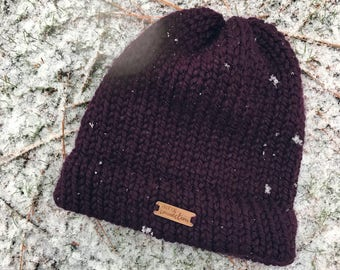 Plum toque, knitted winter hat