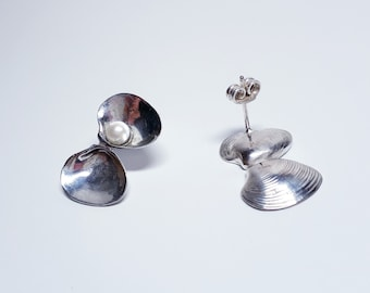 shell earrings with pearl