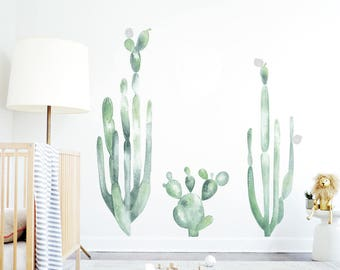 Cactus Wall Decals Watercolor Decal Mural Kids Wall Decal Cactus Shelf Adhesive Removable Kids Decor Tribal Nursery. Large Cacti Wall Decal