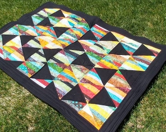 Boho baby/toddler quilt/blanket with batik