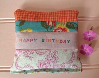 Happy Birthday lavender bag. Floral  vintage fabric patchwork