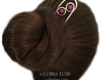 Sugilite Hair Pin, Brass Hair Fork, Gold Bun Holder, Gemstone U Shaped Hair Pin, Gold Hair Slide, Long FINE HAIR Accessory, Gift for Women