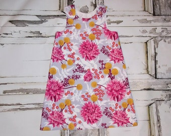Autumn Mums Chrysanthemum Aline Dress Sz. 0 3 6 12 18 24 Months Handmade Baby Shower Birthday Flowers