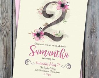 Printable floral birthday invitation, second birthday girl, any age invitation, girl birthday invitation, digital invitation, girl birthday