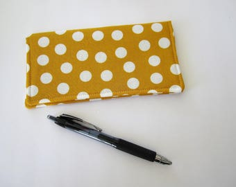 Checkbook cover, Fabric Checkbook Cover, Checkbook Holder, Yellow Checkbook Cover, Gift for Coworker, Gift for Friend, Gift under 10