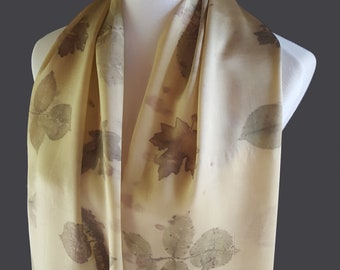 Naturally Dyed Silk Scarf, Goldenrod and Ecoprint Leaf Pattern, Botanical Print Eco Friendly Scarf- Discounted