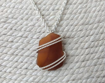 Brown Sea Glass Silver Necklace Long