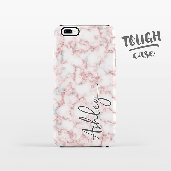 Marble NAME Personalized Phone Case Custom iPhone 8 Plus Case iPhone X Case iPhone 7 Case iPhone 6 Plus iPhone 6s Pink iPhone Case TOUGH
