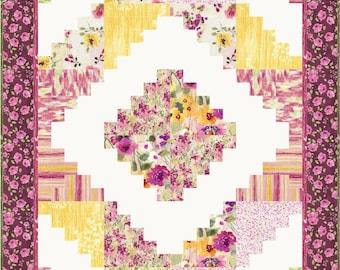 Log Cabin Quilt Pattern, 2418-10, Floral log cabin quilt, floral lap quilt