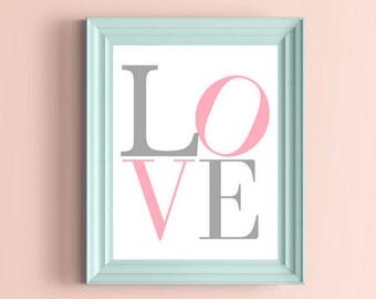 Love Print, Block Love Printable Art, Nursery Love Print, Nursery Print, Pink and Gray Nursery Art, Love Wall Art, Love Wall Decor