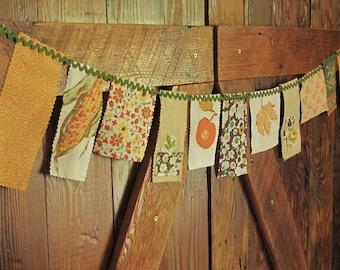 Repurposed Vintage Fabric Fall Bunting Banner Garland