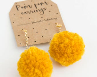 Pom Pom Earring | Ochre Mustard Yellow | Ear Jewellery Ornament