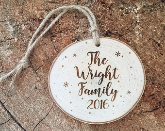 Newlywed Christmas Ornament, Our First Christmas - Wood Engraved Christmas,  Engraved Christmas Ornament, Rustic Tree Ornament - Xmas 2016