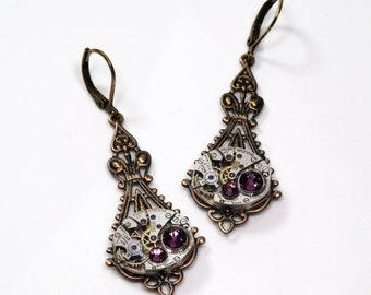 FEBRUARY Steampunk Earrings AMETHYST SteamPunk Vintage Watch Earrings Antique Brass Victorian Steampunk Jewelry by Victorian Curiosities