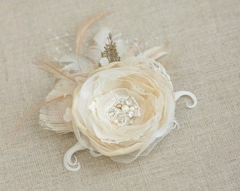 Wedding hair flower, Wedding hairpiece, Champagne hair clip, Bridal hair accessories, Wedding headpiece, Flower hair piece, Burlap headpiece