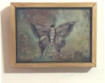 Butterfly Wall Art.  Miniature ACEO sized Wax Painting Framed. Handmade Fine Art. Moth Art.