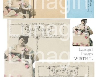 VINTAGE BEAUTY carte postale digital collage sheet, Victorian woman wistful lady, French postcards tags labels altered art ephemera DOWNLOAD
