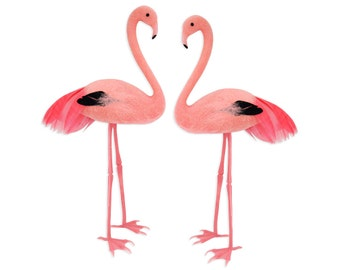 Feathery Pink Flamingo Cake Topper - a sweet bright pastel pink flocked and feathered flamingo for decorating cakes