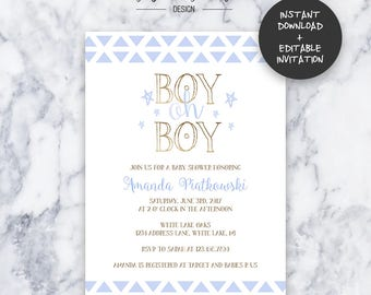 Boy Oh Boy Baby Shower Invitation   INSTANT DOWNLOAD   Editable PDF  Do It Yourself   Printable