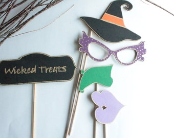 Photo Booth Props- Halloween Photo Props- Halloween photo booth- wooden props- word props- party props- props