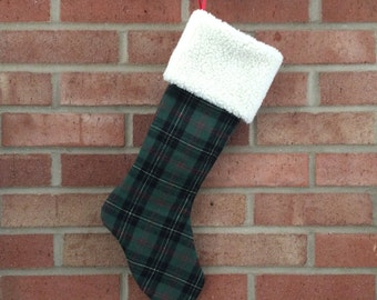 The Wondrous - Christmas Stocking in green plaid; handcrafted traditional stocking for adults and children by MHammerDesign