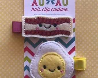 Bacon and Egg Hair Clips,Breakfast Themed Clips,Foody Gifts,Bacon Lover,Pigtail Clips,Food Felt Hair Clips,Xoxo Hair clips,XOXO Amour,