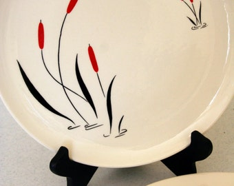 Cattail Ballet-dinner plates-Harmony House-vintage plates-set of 2