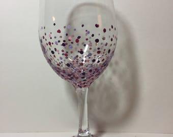 Speckled Purple Wine Glass