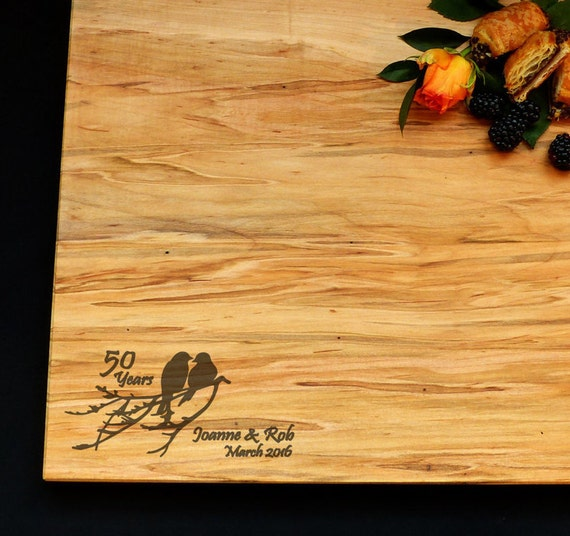 Anniversary Gift Personalized Cutting Board Large Cutting Board 14x16 Maple w/Feet - Doves - Love Birds - 50th Anniversary