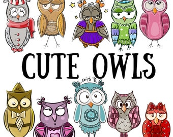 Cute owls set. Printable, digital illustration. Childish characters. Birds. Drawing. Hand drawn. Colorful. Sticker, print, scrapbook