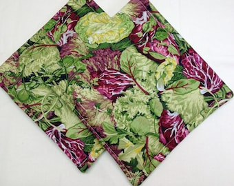 Lettuce  Print Potholders Set of 2